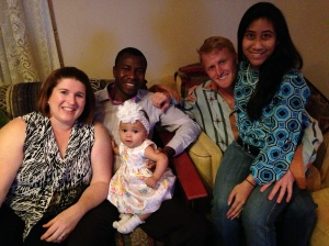 Ashley, Yonaba and their beautiful daughter Maisie along with hosts Daniel & Melissa