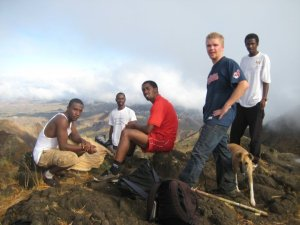 Ryan (blue shirt) at the summit of Cape Verde